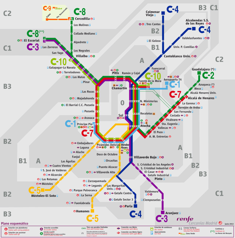 Mapa De Zonas Renfe.Commuter Train Cercanias